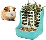 Alimentador de conejo, conejo, comedero de heno, comedero de heno, alimentador de heno y alimentos, bandeja para pesebre para conejos, cobayas, chinchilla (azul)