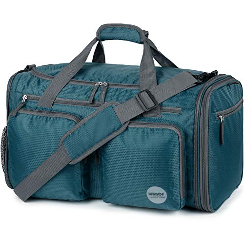 Foldable Sports Gym Bag with Wet Bag & Shoes Compartment, Travel Duffel for Men and Women (Dark Green)