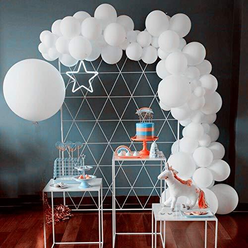 Yiran White Balloons 125 Pcs Pearl White Latex Balloons 12 Inch 36 Inch 5 Inch White Balloons Garland Arch Kit for Decorations, Christmas Eve, Bridal Party Baby Shower Birthday Wedding Celebration