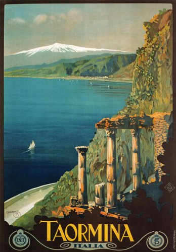 "TW12 Vintage 1927 Taormina Sicily Italian Italy Travel Poster Re-Print - A1 (841 x 610mm) 33"" x 24"""