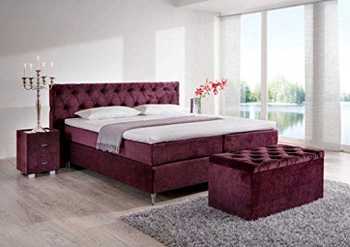 Möbelisten Designer Box Spring Bed Button, Made in Germany, Barrel Pocket Spring Core in the Box and in the 7-Zone Mattress, Visco Topper, Luxury Bed, Hotel Bed, Double Bed, Red H2, 200x210cm red