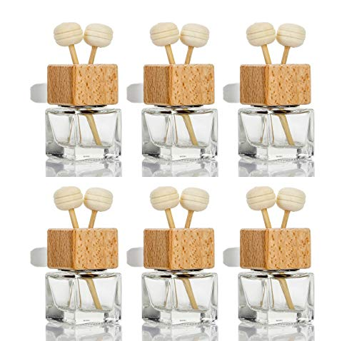 6 Pack,8ml Car Outlet Essential Oil Diffuser,Empty Clear Glass Car Air Freshener Vent Decoration Bottle Perfume Diffuser Vials For Aromatherapy Fragrance Ornament-1 Funnel&Dropper