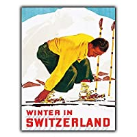 Switzerland Skiing 金属板ブリキ看板警告サイン注意サイン表示パネル情報サイン金属安全サイン