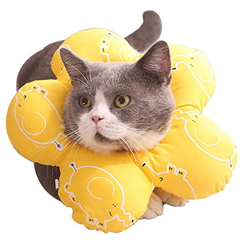 No-Branded EACHPT Halskrause Katzen Soft Einstellbar Schutzkragen Hund Anti Biss Hund Kragen Leckschutz Schutzhalsband Haustier Halskrause Schützender Kragen für Haustiere Katzen Hunde Kätzchen L