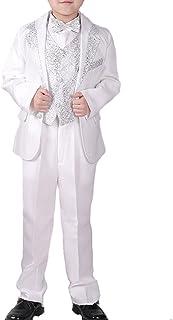 ds5089 白 ボーイズ 子供 男の子 ジュニア スパンコール ステージ衣装 ステージスーツ テーラード ダンス 司会者 セット