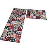 Yizunnu - Alfombra antideslizante de franela para el suelo, lavable, para cocina, interior, decoración del hogar, 50 x 80 cm+50 x 160 cm