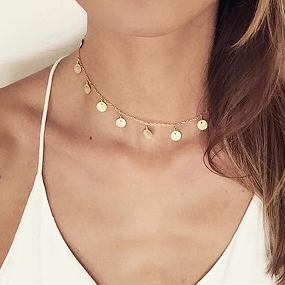 Stainless Steel Hammered Coin Choker For Women Girls Choker Collar Necklace Jewelry