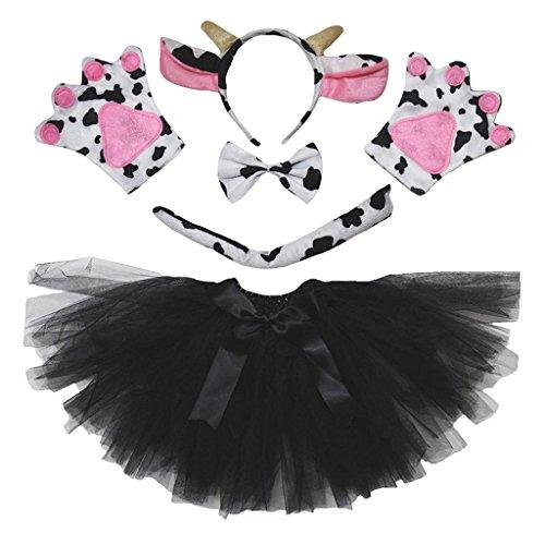Petitebelle Diadema Bowtie Guantes de cola Tutu nia Disfraz de 5 piezas Un tamao Vaca