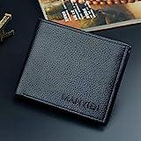 RICISUNG パーティション PUウォレット 男性用タイプ財布 メンズ 折りたたみ式 薄型 人気 レザー財布 大容量ウォレット 多機能コンパクト Black One Size