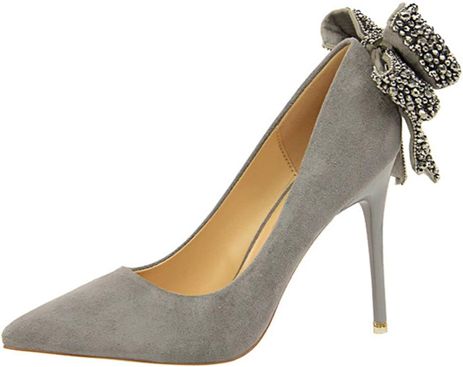 Drew Toby Women Pumps Crystal Butterfly-Knot Shallow Wedding Suede Pointed Toe High Heels