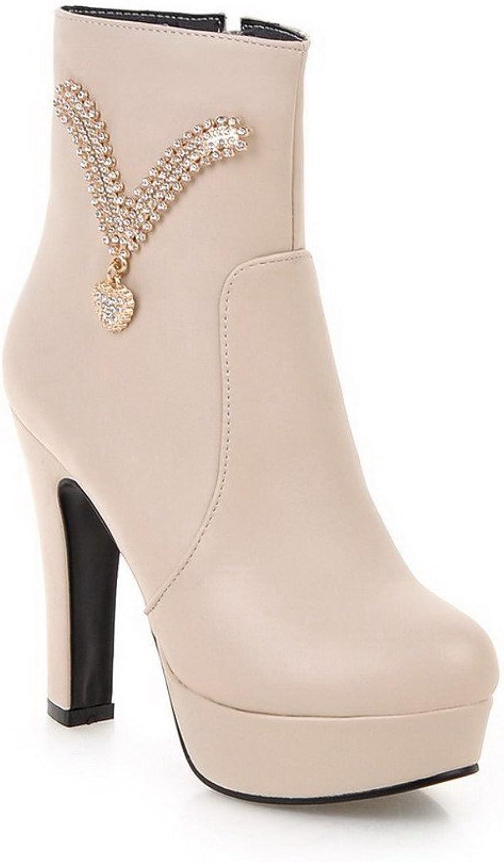 AllhqFashion Women's Zipper High Heels Pu Solid Low Top Boots