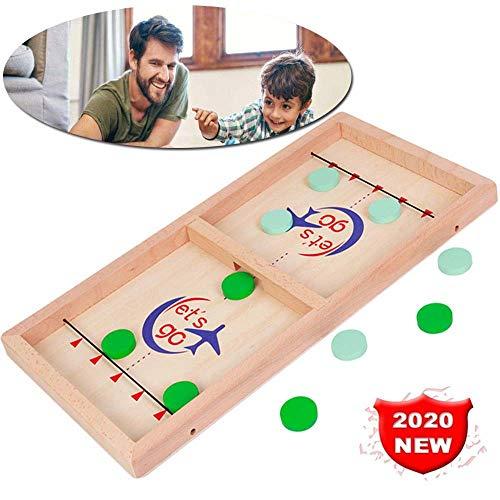 HJHY@ Fast Sling Puck Spiel Hockeyspiel Set Battle Brettspiel Wood Slingpuck-Spiel Multi Tabletop Indoor Portable Brettspiele Tempo SlingPuck Gewinner Brettspiele für Kinder Familie