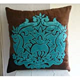 Applique Damask - Decorativa Funda de Cojin 66 x 66 cm, Square Marrón Chocolate Terciopelo Velvet Apliques y Bordados