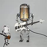 ZKHD Lámpara Robot de Micrófono Vintage con Guitarra, Robot Touch Dimmer Robot Lámpara de Escritorio para Dormitorio, Sala de Estar, Oficina,Twelvestringguitar