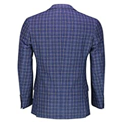 Xposed Mens Retro Tweed Check Blazer Vintage Smart Tailored Fit Suit Jacket in Brown Blue[BLZ-Juan,Navy Blue,38] #3