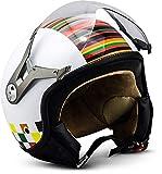 Soxon SP-325 - Casco Moto, ECE Certificado, con parasol y bolsa de casco, Multicolor/Couleur, XS (53-54cm)