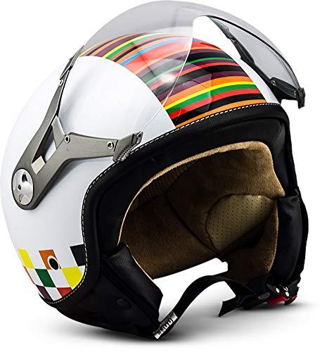 "SOXON® SP-325 ""Couleur"" · Jet-Helm · Motorrad-Helm Roller-Helm Scooter-Helm Moped Mofa-Helm Chopper Retro Vespa Vintage Pilot Biker Helmet · ECE 22.05 Visier Schnellverschluss Tasche XL (61-62cm)"
