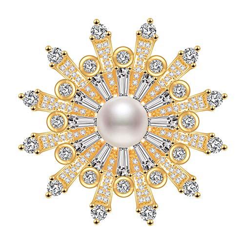 Schneeflocke Broschen Pins 18 Karat Gold mit 5A Zirkonia Süßwasser Perle Geschenk für Frauen vergoldet