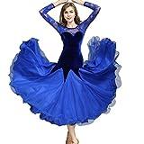 MoLiYanZi Abiti da Ballo Standard Nazionali Velluto Pizzo Donna Ballo da Sala Costume da Prestazione Abiti da Competizione, Blue, L