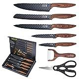 LEBENLANG Küchen Zubehör Messerset 7 teilig mit Schäler & Küchenschere - scharfes...