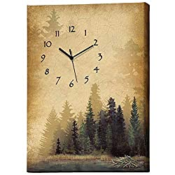 BLACK FOREST DECOR Tranquil Timber Wrapped Canvas Wall Clock