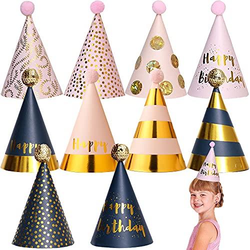 SUNSK Sombreros Cumpleaños Gorros Fiesta Sombreros Papel Gorros Adultos Fiesta Boda Sombreros de Fiesta Gorros Infantiles 10 Piezas