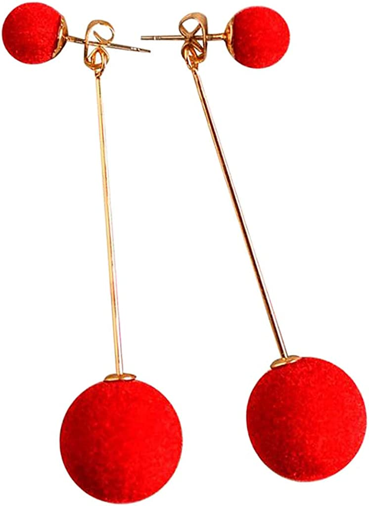 Colaxi Ladies Fashion Pompoms Ball Earrings Dangling Studs Charms Jewelry Gifts