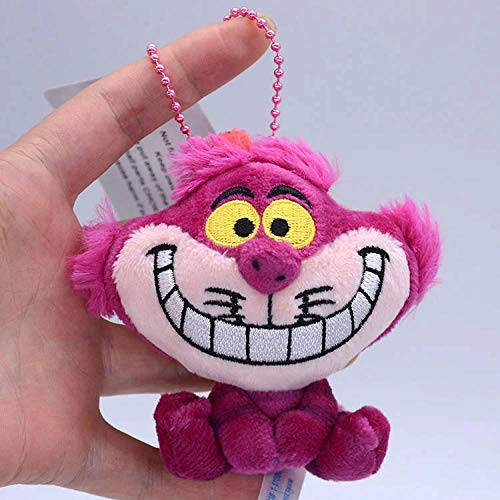 Cheshire Cat Keychain Alice in Wonderland Cheshire Cat Cute Mini Doll Plush Toy Doll Pendant Girl Birthday Gift Toy Keyring-Rose Red