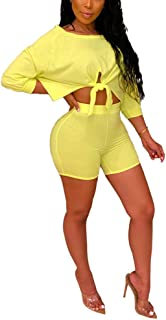 Womens Sexy Two Piece Outfits Short Sleeve Crop Top Bodycon Short Pants Set Clubwear