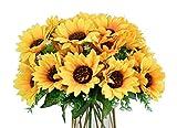 LSKYTOP 4 Bunches Bouquet Artificial Sunflower Floral Arrangement,28 Flowers,Faux Sunflower Bouquet for Home Decoration Wedding Decor