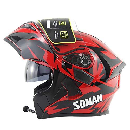 Dajie Casco Modular Bluetooth, Visor de Doble Visera Aplique el Casco de Motocicleta de la Cara Completa, Casco Aprobado por MP3 FM PROTOM Dot,Skyeye Red,L