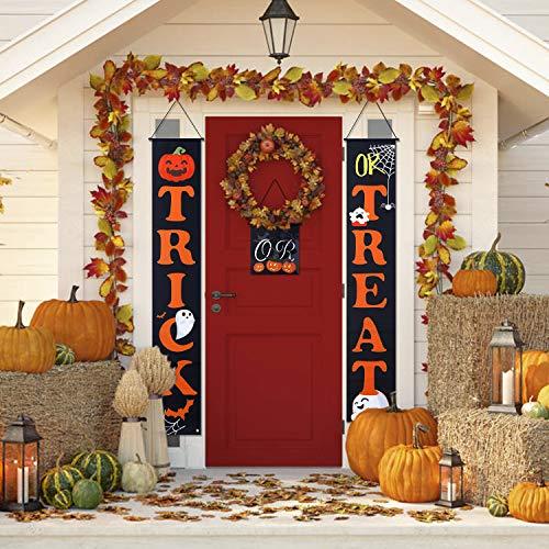 Vintoney Halloween Tür Banner Veranda Zeichen Haustür Vorhang Hängen Flagge Dekoration Couplet für Halloween Party Karneval (Farbe1)