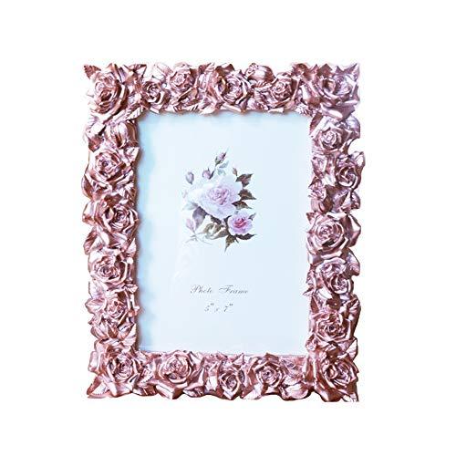 Vintage Picture Frame antieke tafelblad en Wall Opknoping fotolijst met glazen pui for Decor van het Huis (Color : Rose, Size : 7inch)
