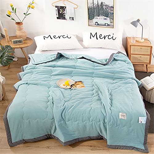 Colcha de Verano Colcha Acolchada para Cama, Chickwin Color Sólido Multiuso Edredón Manta de Dormitorio Reversible Suave y Cómoda Colchas (Azul,200x230cm)