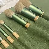 SXPSYWY 10 QINGLUO Hecho de maquillaje de maquillaje suave Cepillo Polvo Pincel First Scholar Herramienta de belleza completa-10 juegos de bolsas de almacenamiento_Color de madera