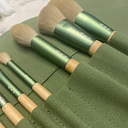 SXPSYWY 10 QINGLUO Hecho de maquillaje de maquillaje suave Cepillo Polvo Pincel First Scholar Herramienta de belleza completa-10_Color de madera