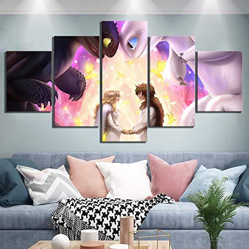 ARXYD 5 opeenvolgende schilderkunst behang canvas schilderij Home Decor 5 stuks zonsondergang Rocky Mountain Poster Modular Print bamboe bos foto's woonkamer muurkunst aanzicht canvas 200*100 CM A3