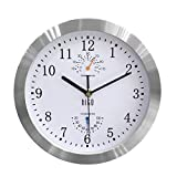 hito Modern Silent Wall Clock Non ticking 10 inch Excellent Accurate Sweep Movement Silver Aluminum Frame Glass Cover, Decorative for Kitchen, Living Room, Bedroom, Bathroom, Bedroom, Office (White)