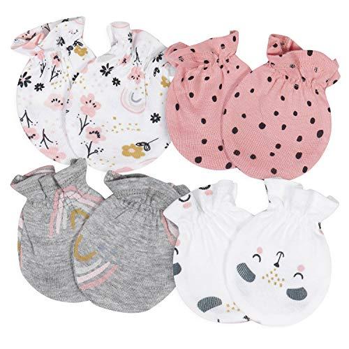 Gerber Baby Girls' 4-Pair Mittens, Bear/Floral Pink, 0-3 Months