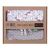 LULANDO Copertina da neonato Coperta per bambino 100% cotone (80x100 cm). Super morbido e soffice, materiale antiallergico, traspirante, Oeko-Tex Standard 100. Colore: Grey - Grey Unicorn