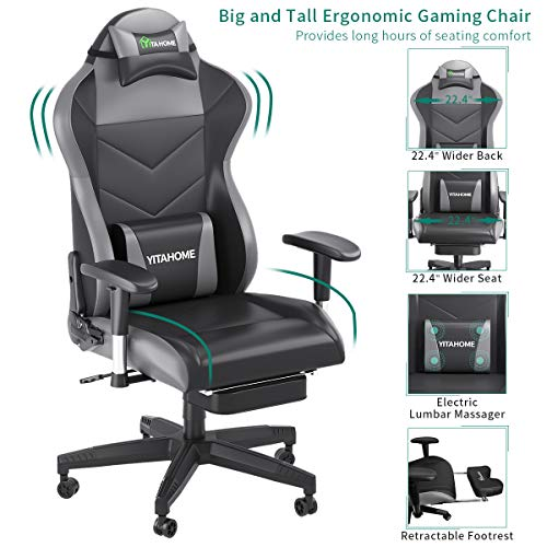 YITAHOME Massage Gaming Chair, Heavy Duty Big and Tall Computer Racing Desk Chair with footrest, and Large Size PU Leather Swivel Video Game Chair with High Back (Deluxe Black) chair footrest gaming