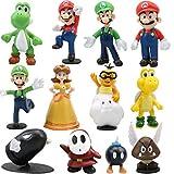 WENTS Super Mario Figures 12pcs / Set Super Mario Toys Figuras de Mario y Luigi Figuras de acción de Yoshi y Mario Bros Figuras de Juguete de PVC de Mario