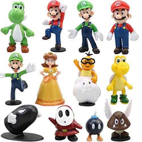 WENTS Super Mario Brothers Mini Figuren Set Geburtstags Party liefert Cupcake Figuren Party Kuchen Dekoration Lieferungen Cake Topper 12 Stück