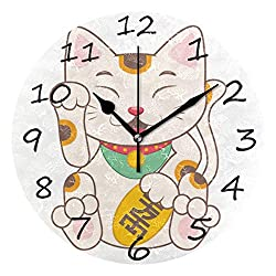Shiiny Wall Clock,Lucky Cat 9.8 Inch Easy to Read Colorful Battery Operated Clock,for Bedroom,Living Room,Kitchen,Office