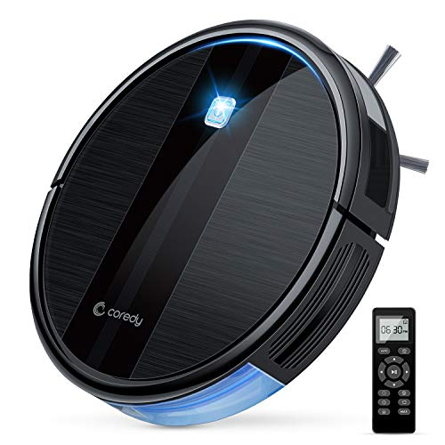 Coredy Robot Vacuum Cleaner, 1700Pa Strong Suction, Super Thin Robotic Vacuum, Multiple Cleaning Modes/Automatic Self-Charging Robot Vacuum for Pet Hair, Hard Floor to Short-Pile Carpets