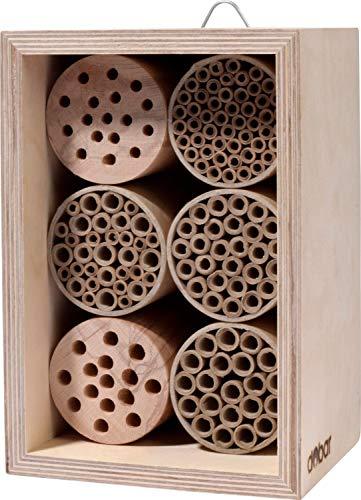dobar 28450e Profi-Insektenhotel für Wildbienen, Nisthilfe mit Papierröhrchen und sauberen Bohrungen, 15 x 12,5 x 22 cm, Natur