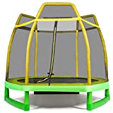 GYMAX 7ft Kids Trampoline, Jumping Trampoline with Safety Enclosure Net & Spring Pad for Outdoor/Indoor, Built-in Zipper Heavy Duty Trampoline for Kids Family (Yellow)