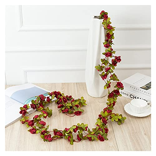 ERLIZHINIAN 45Flowers Flor Artificial Guirnalda Hiedra otoño pequeño peonía Flores Flores Fake Planta otoño Hojas Vid Retro Flores Hermosa decoración (Color : Wine Red)