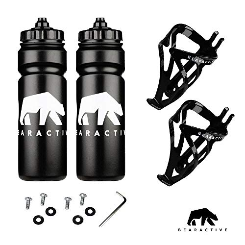 Bearactive 2 Pack Bike Bottle Holder with Bike Bottle 750ml - BPA Free Leak Proof Bicycle Squeeze Bottle with Valve Lid – Lightweight Plastic Bottle Cages with Screws for Road & Mountain Bikes