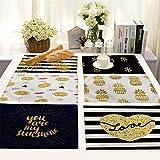 X-Labor Juego de 6 manteles individuales, diseño moderno algodón y lino 42 x 32 cm art-g